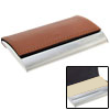 Brown Faux Leather Stainless Business Card Holder Case