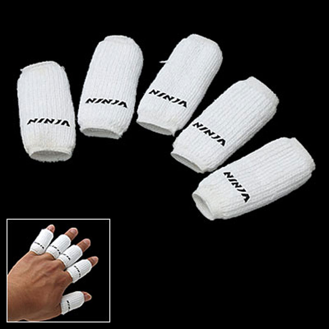 White Sports Elastic Finger Sleeve Protector 10PCS