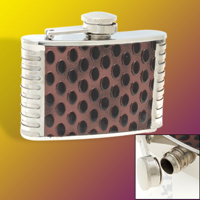4oZ Stainless Steel Liquor Hip Flask w/ Droplet Pattern