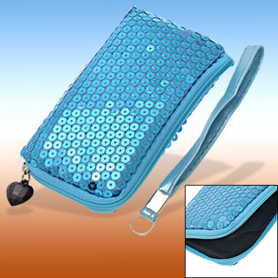 Blue Glittery Bag Pouch Holder for Mobile Phone