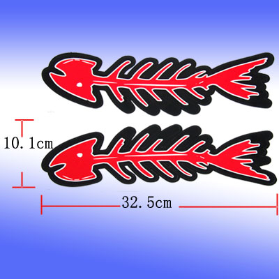 Pair Dead Fish Skeleton Bones Vinyl Stickers Auto Graphic Decals L32.5 x W10.1cm