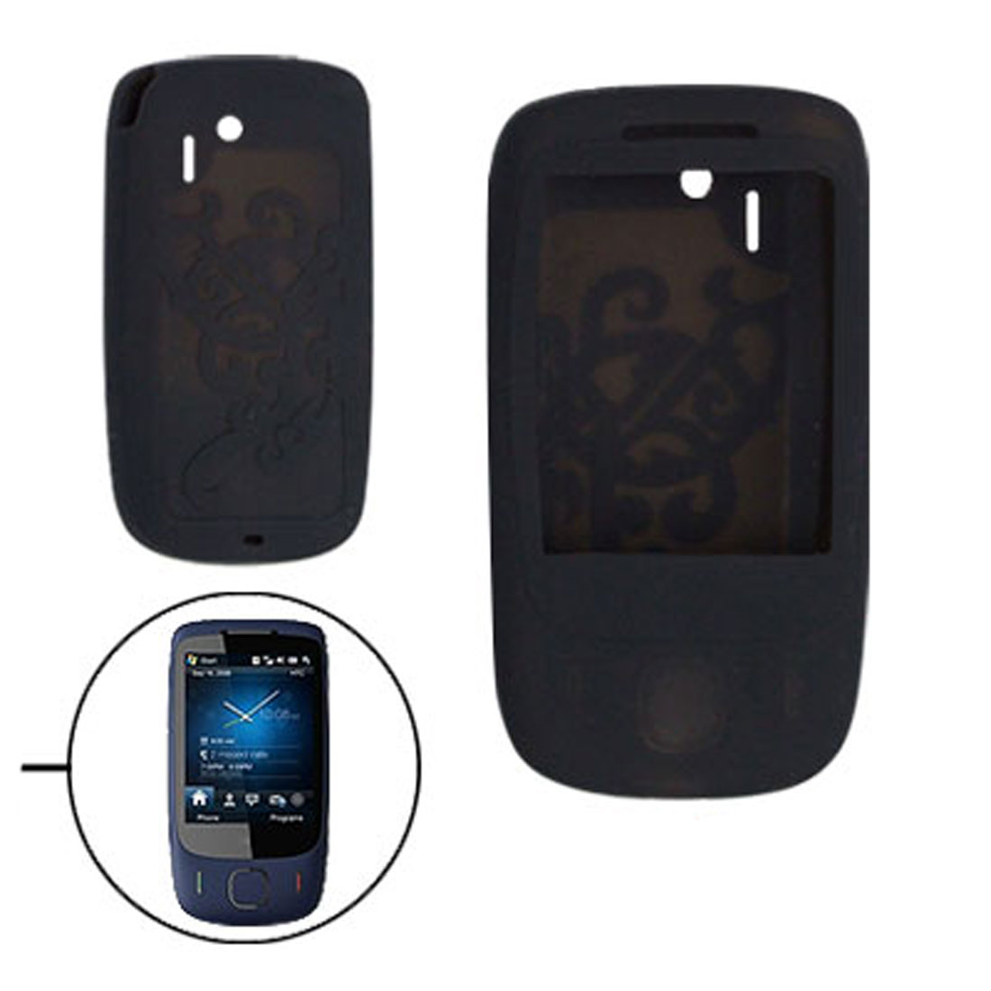 Nonslip Black Silicone Skin Case Cover for Dopod HTC S1 3G