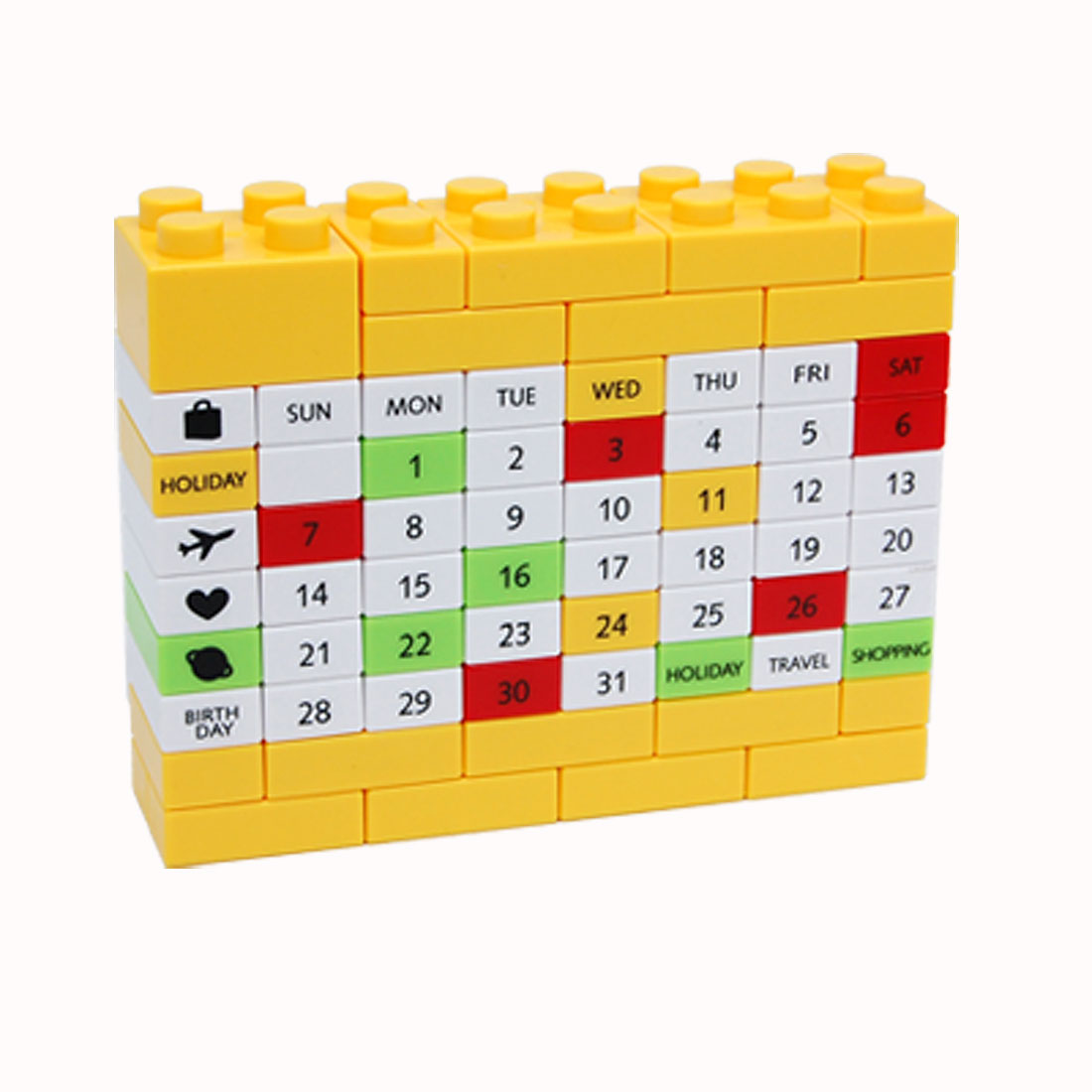 Various Pattern Plastic Bricks Calendar Puzzle 3D Toy