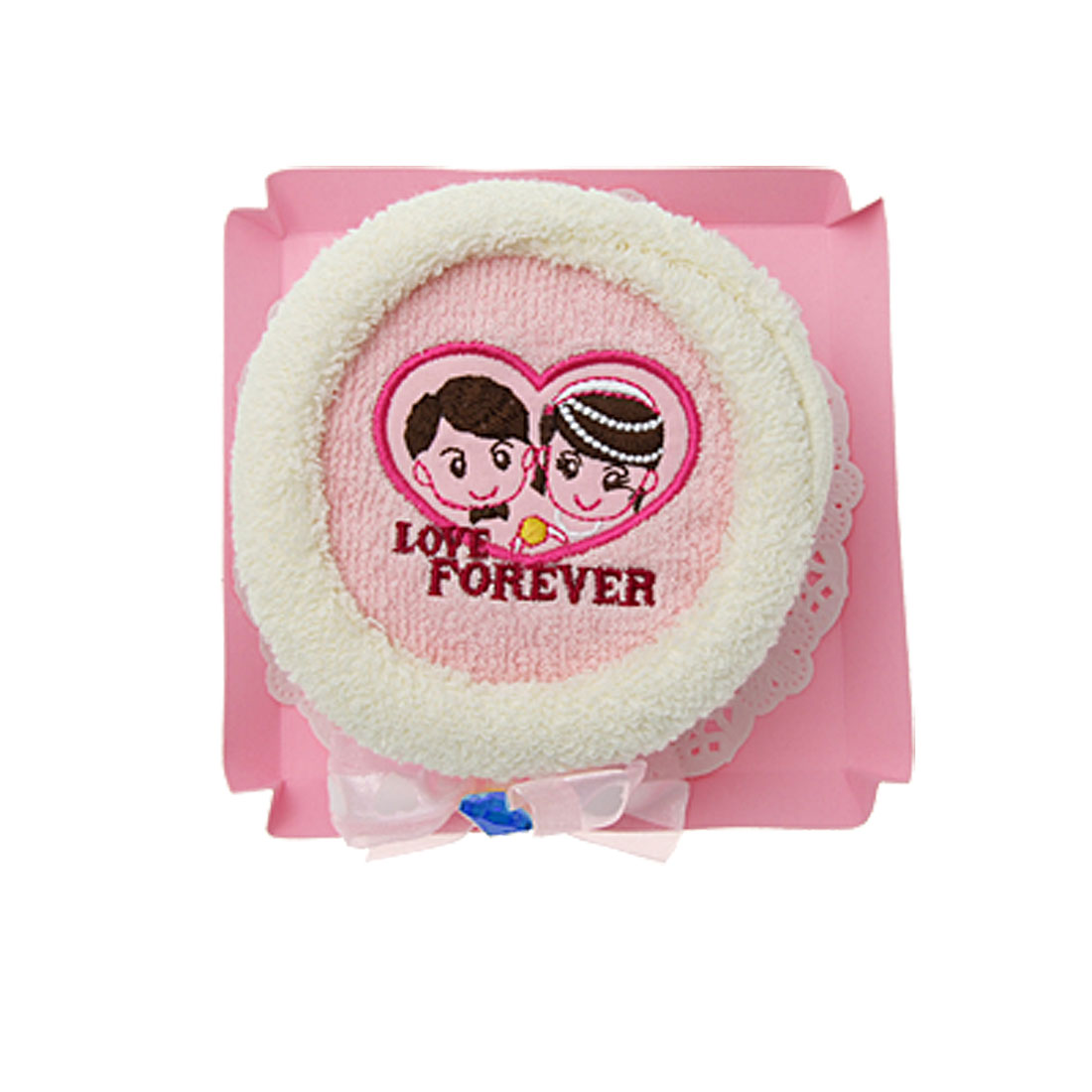 Lovers Pattern Pink Gift Soft Towel Washcloth Facecloth