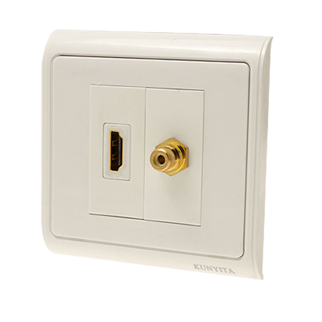 Female 19 Pin HDMI Wall Plate Jack with Single RCA Connector Wall Plate