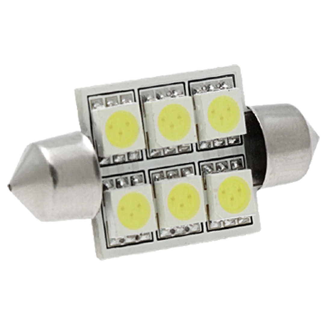 37mm White 5050 SMD 6 LED Festoon Bulb License Plate Light Lamp for Car