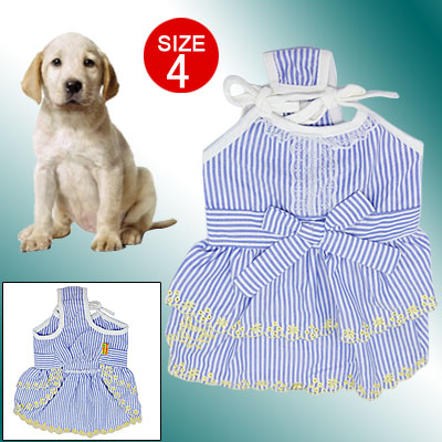 Size 4 Stripe Pattern Spaghetti Strap Skirt for Pet Dog Doggie Puppy