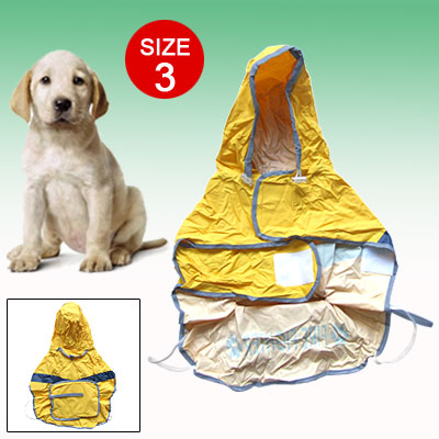 Size 3 Reflective Fire Fighter Raincoat Dog Puppy Clothes Rain Coat