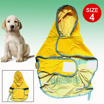 Size 4 Dog Puppy Rain Jacket Clothes Reflective Fire Fighter Raincoat