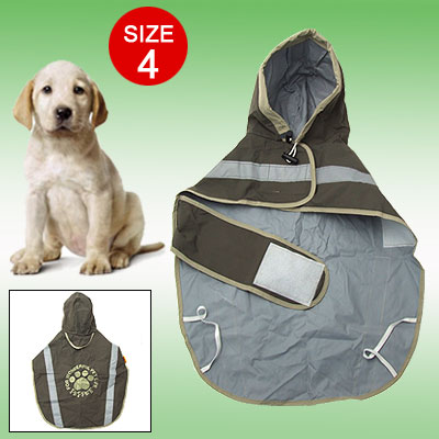 Size 4 Pet Dog Cat Rain Jacket Polyester Night Reflective Raincoat,