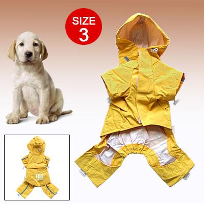 Size 3 Dog Pet Reflective FBI Raincoat Clothes Jacket Apparel Yellow