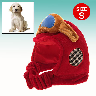 Pet Dog Soft Motorcycle Helmet Bonnet with Adjustable Hook and Loop Fastener Chin Strap Size S