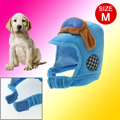 Size M Dog Pet Soft Motorcycle Helmet Bonnet With Adjustable Hook and Loop Fastener Chin Strap