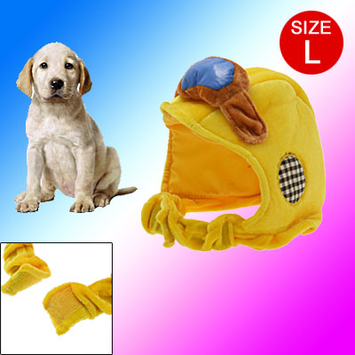 Dog Pet Soft Motorcycle Hat Bonnet With Adjustable Hook and Loop Fastener Chin Strap Yellow