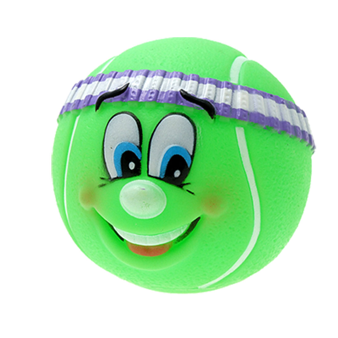 Pet Toy Rubber Tennis Ball Pattern Vinyl Squeaker Fetch Puppy Chew Sound Green