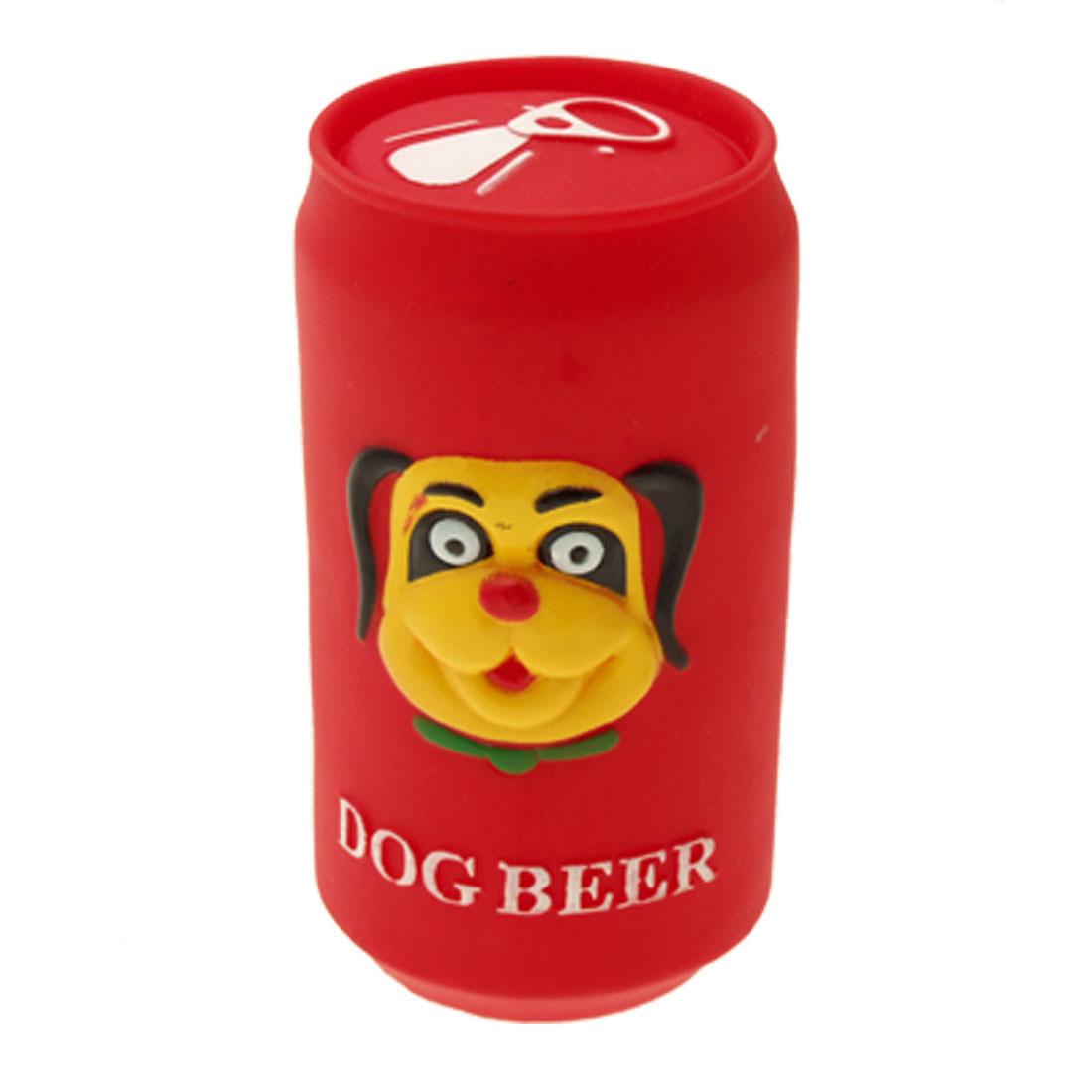 Red Vinyl Plastic Beer Pet Cat & Dog Squeaky Chew Toy