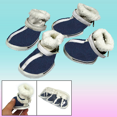 Outside Plush Design Winter Protective Pet Boot Dog Shoes Navy Blue