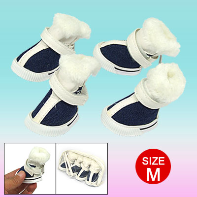 Plush Fabric Design Winter Protective Pet Boot Dog Shoes