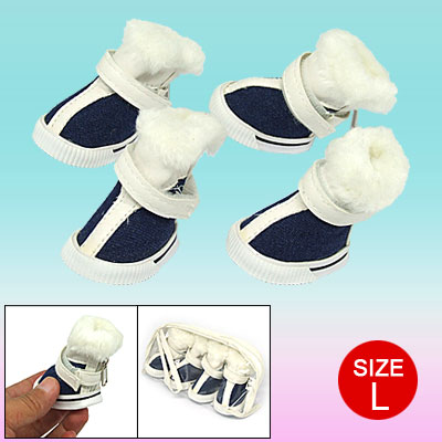 Plush Design Winter Protective Pet Dog Shoes Blue