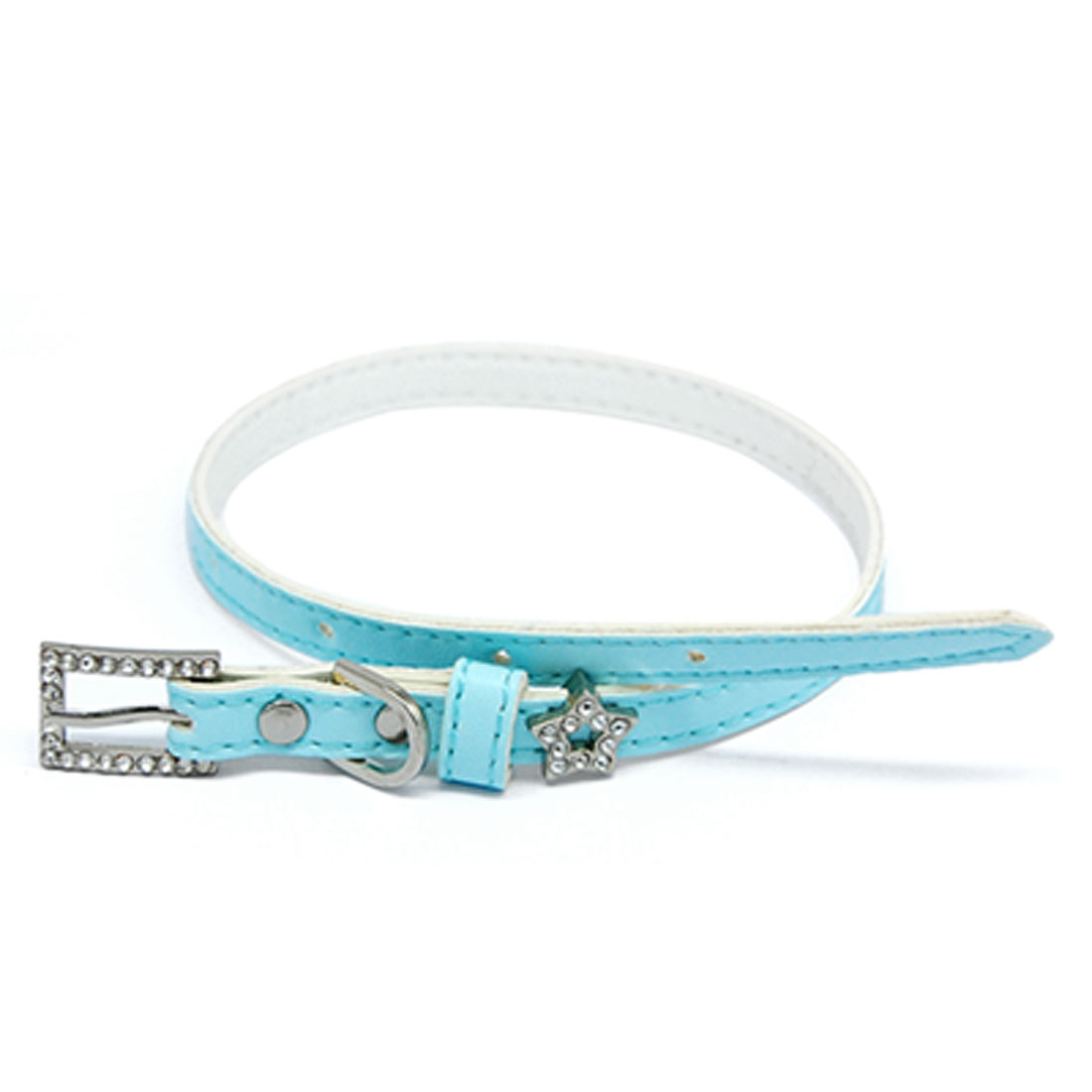Rhinestone Star Pet Dog Neck Collar Leather Band Strap Skyblue
