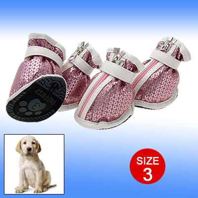 Mini Dazzling Pink Protective Boot Pet Sport Dog Shoes 3#