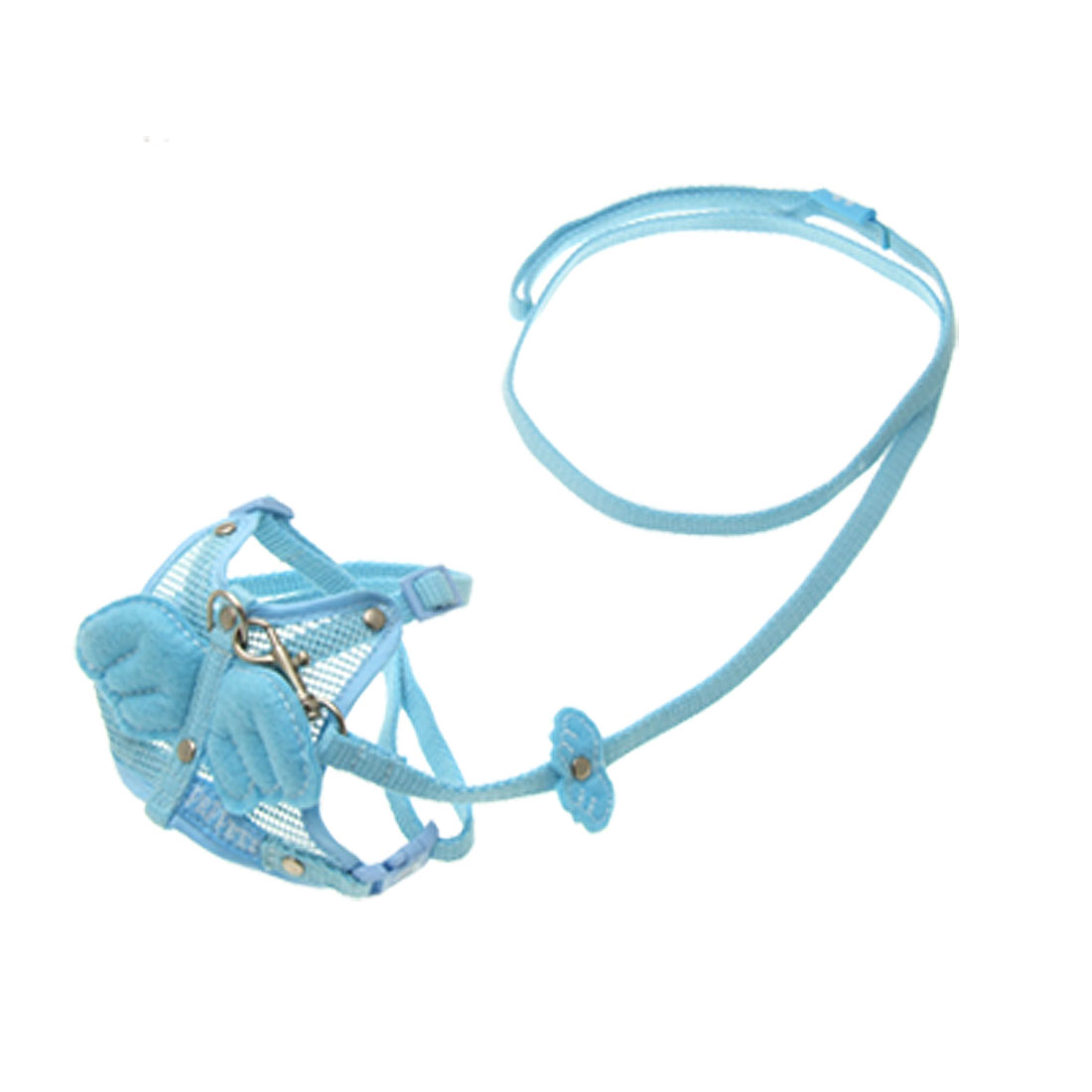 Angel Wing Decor Cat Dog Safety Harness Vest Leash Outdoor Strap Sky Blue Size S