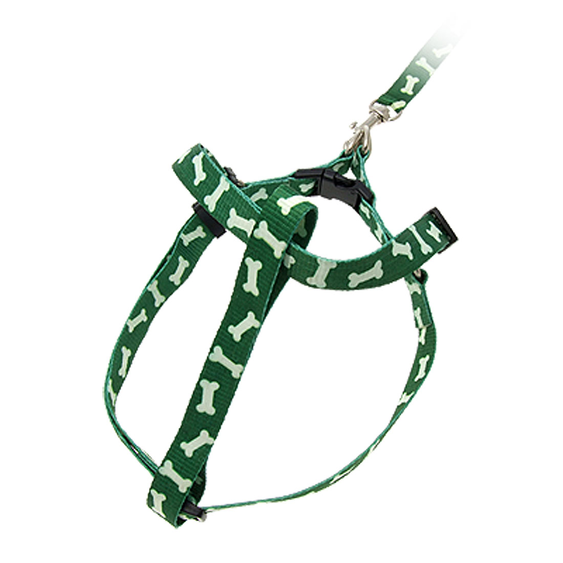 Green Bone Pattern Pet Dog Nylon Pulling Harness and Leash Rope