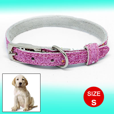 Glittery Pet Dog Neck Collar Leather Strap Band Pink 29.5cm Long