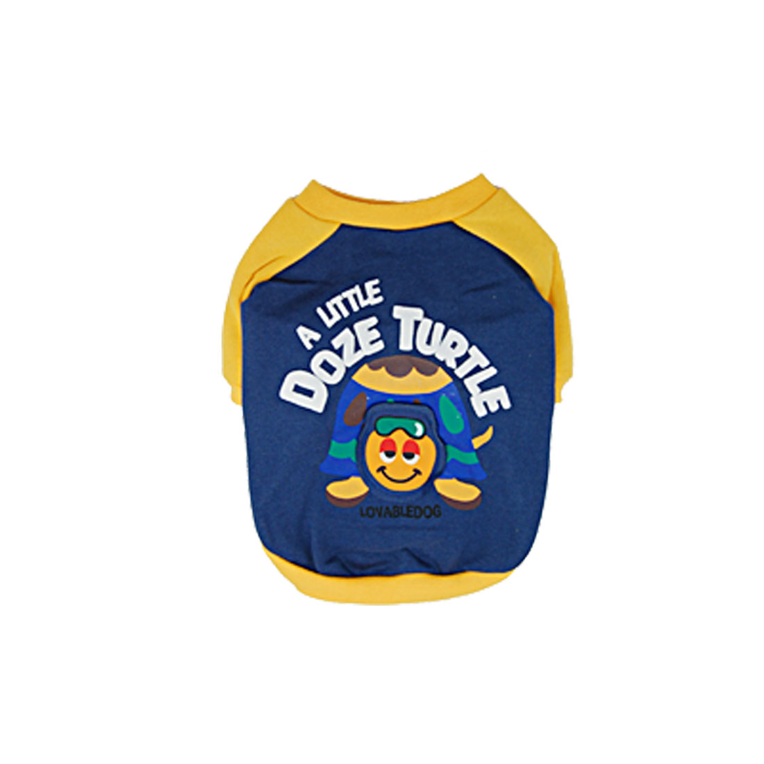 Cute Blue Yellow Round Neck Casual Pet Puppy Dog Clothes Apparel Shirts Size 3