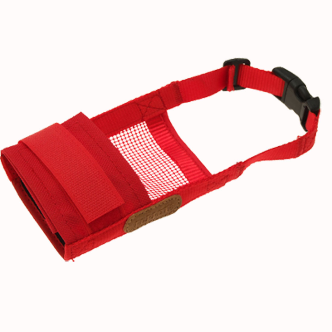 Size L Pet Dog Anti Bark Bite Chew Muzzle Red Soft Mesh Mask