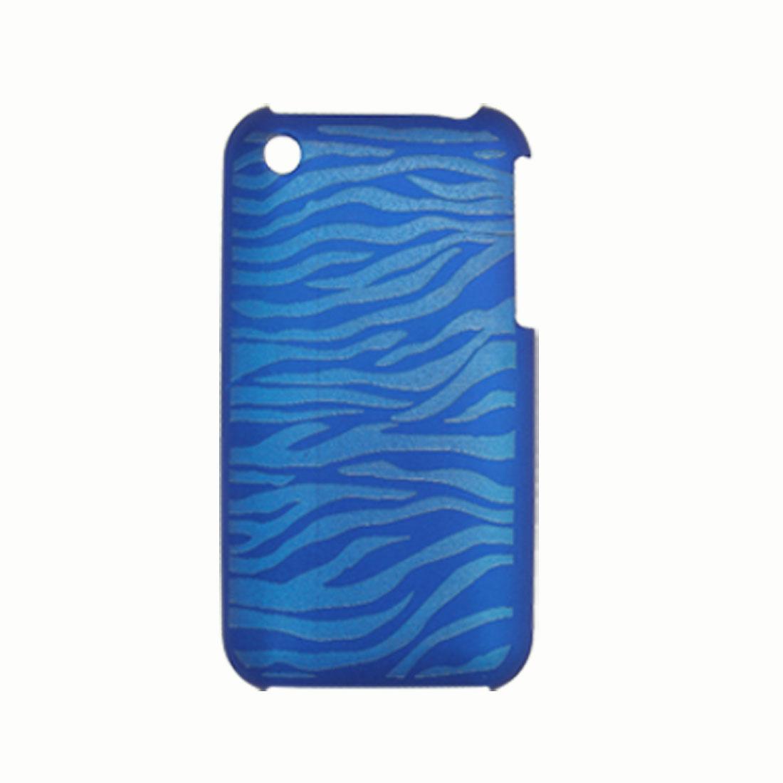 Nonslip Blue Zebra Plastic Back Case Cover for iPhone 3G / 3GS