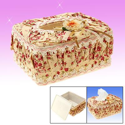 Mini Portable Rectangular Plastic Tissue Box with Cloth Cover