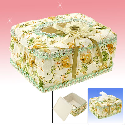 Household Table Plastic Flower Decor Rectangular Tissue Box Holder Case