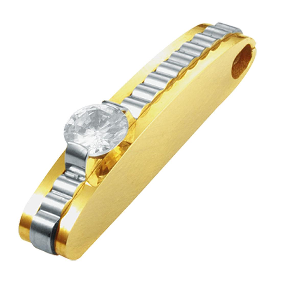Stylish Polished Golden Necklace Pendant with a Rhinestone
