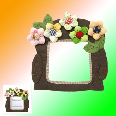 Household Canvas Wall Plate Switch Cover with Flowers Decorate