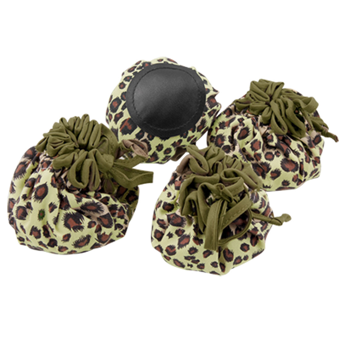 4 Pieces Cloth Chair Table Floor Foot Covers with Leopard Pattern