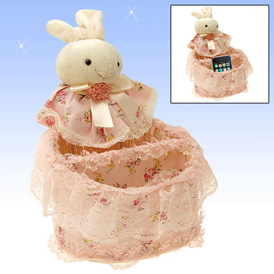 Charm Pink Cloth Wild Straw Knitted Gadgets Basket