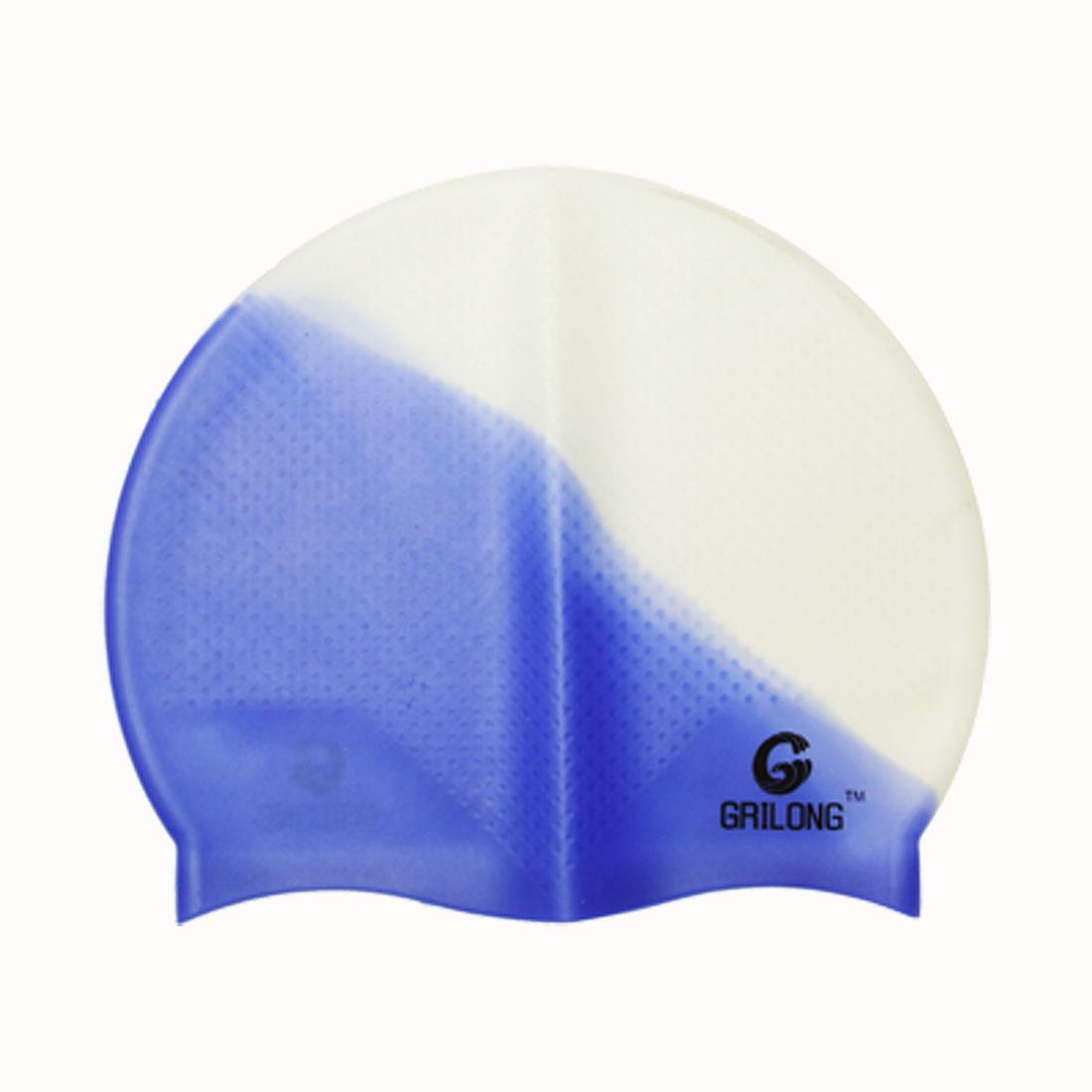 Anti-Slip Durable Silicone Swimming Hat Cap Blue White