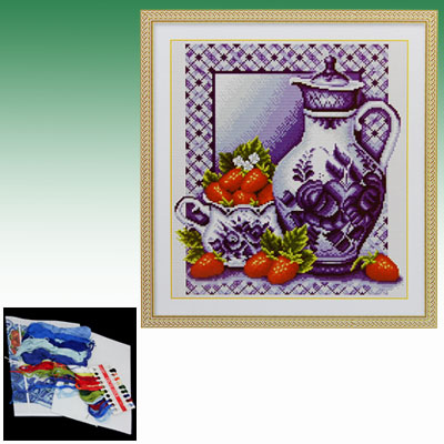 Strawberry & Chinese Porcelain Counted Cross Stitch Kit