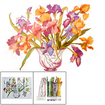 Colorful Blooming Flower Cross Stitch for Home Decoration