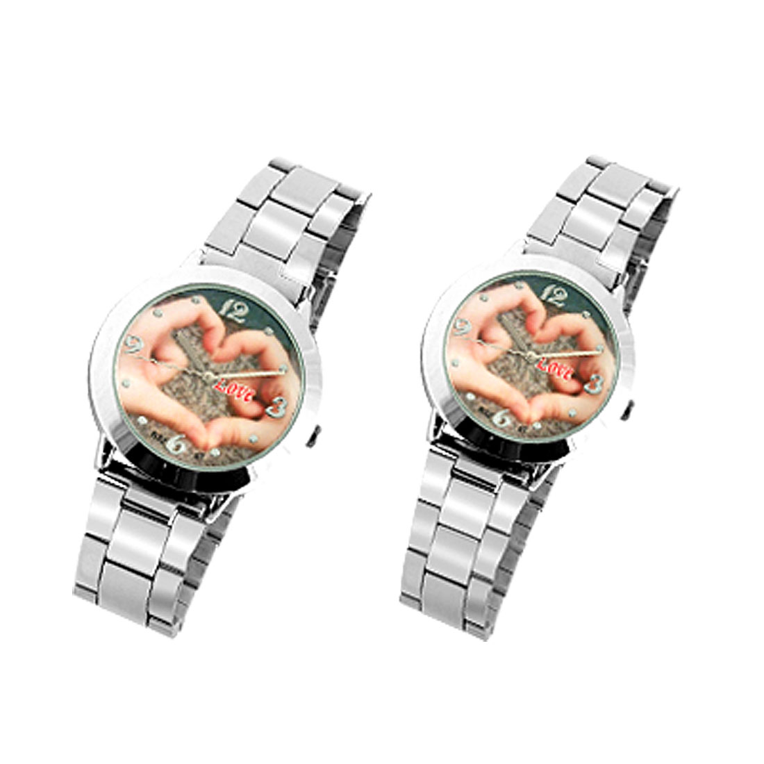 Hands Pattern Silvery Metal Watchband Round Pair Lovers Watches