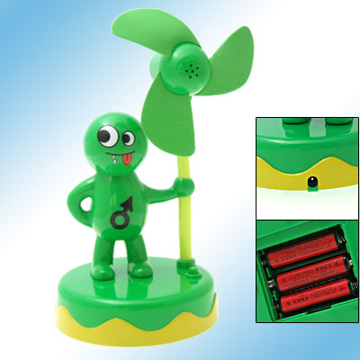Mini Green Cartoon Boy Round Base Battery Operated Fan