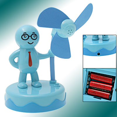Blue Cartoon Boy Mini Battery Operated Fan