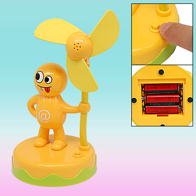Mini Portable Yellow Cartoon Person Battery Powered Fan