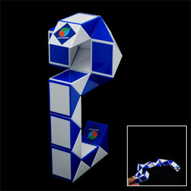 Blue and White Plastic Magic Snake-shaped Cube Kids Toy