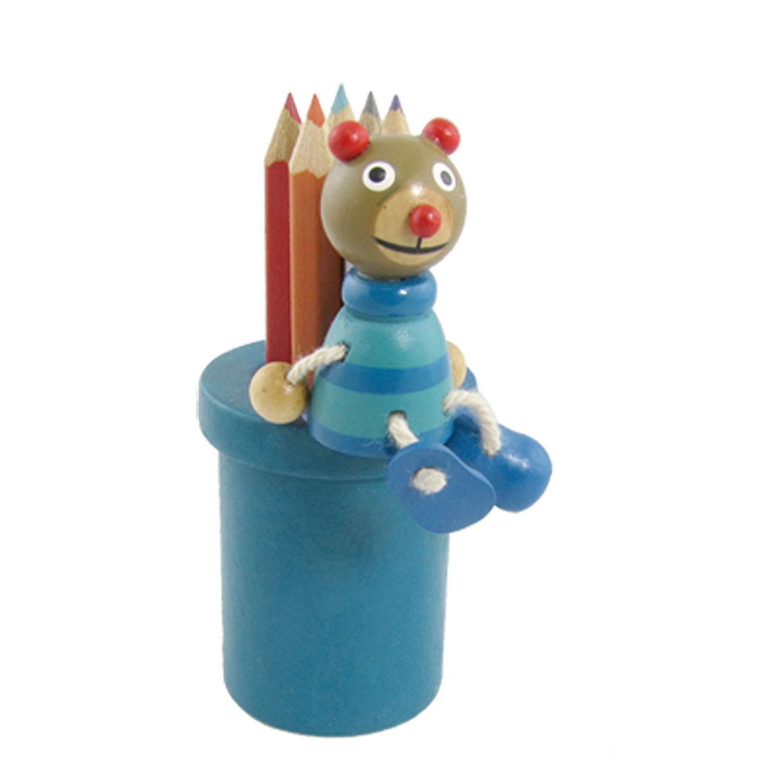 Mini Blue Cartoon Mouse Cylinder Wooden Pen Holder Organizer
