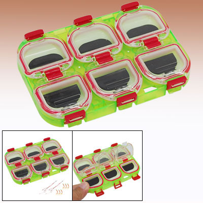 Colorful Fishing Tackle Fish Bait Box w/ 6 Compartments