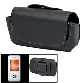 Handsome Black Leather Cover Shield for Sony Ericsson S500 W580