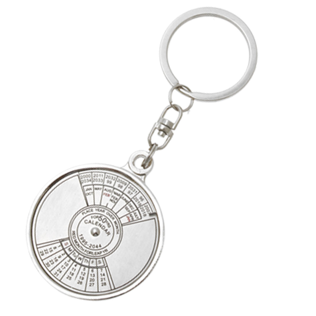 Silvery tone 50 Year Calendar 1995-2044 Keychain Keyring with Spin Function