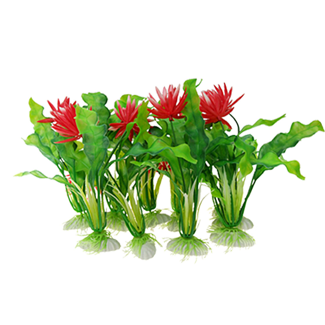Red Flower Aquarium Plastic Plants Fish Tank Ornament